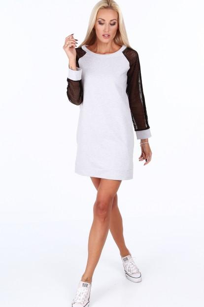 ... sportovní šaty s rukávy ze sieťkoviny. Sukienka sportowa z siatkowymi  rękawami jasnoszara 0201 4687f66bd5