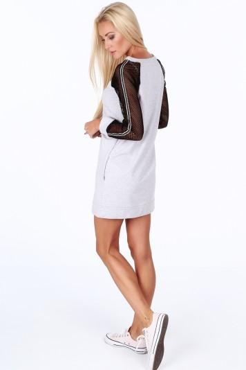 Světle šedé sportovní šaty s rukávy ze sieťkoviny -FASARDIofficial ... 765222259a