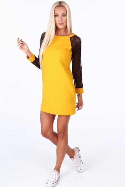 Žluté sportovní šaty s rukávy ze sieťkoviny -FASARDIofficial.cz ... 465271ff32