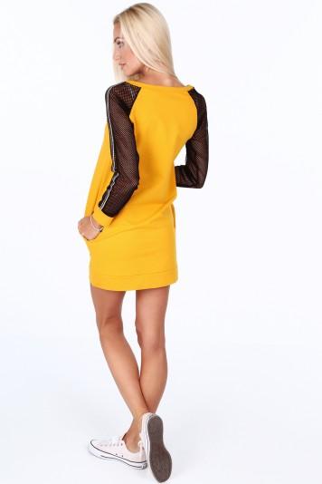 Žluté sportovní šaty s rukávy ze sieťkoviny -FASARDIofficial.cz ... 6d6fb059e0