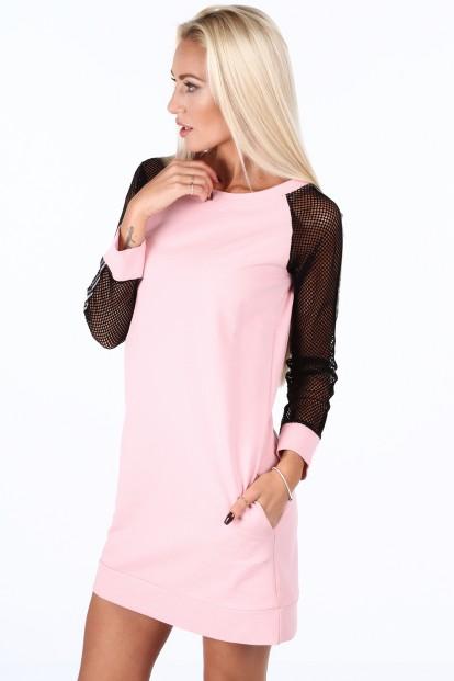 ... Letní šaty · Světle růžové sportovní šaty s rukávy ze sieťkoviny.  Sukienka sportowa z siatkowymi rękawami pudrowa 0201 aed531cbff