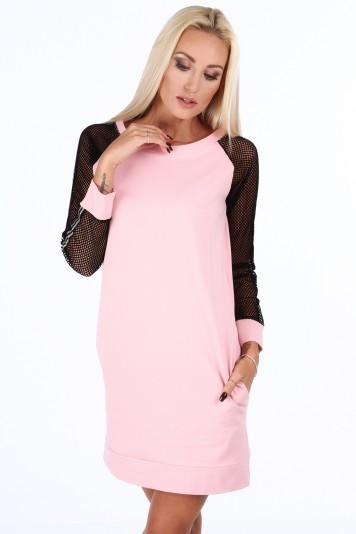 Světle růžové sportovní šaty s rukávy ze sieťkoviny -FASARDIofficial ... ec82c2c2fb