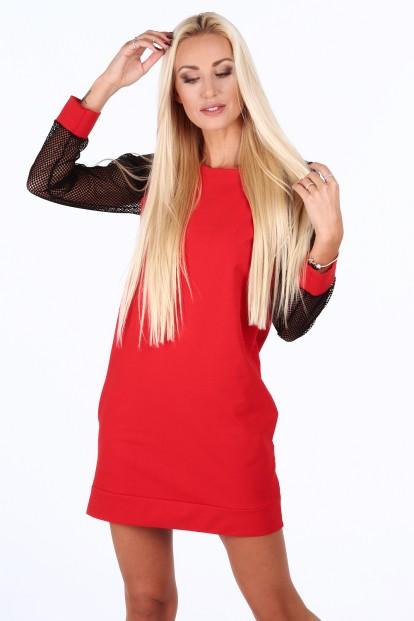 ... Červené sportovní šaty s rukávy ze sieťkoviny. Sukienka sportowa z  siatkowymi rękawami czerwona 0201 aa7fbaa2b7