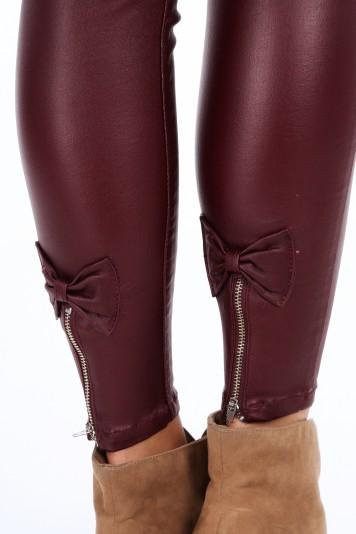 Spodnie z kokardkami bordowe 21760