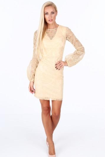 Sukienka z bufiastymi rękawami złota G5202