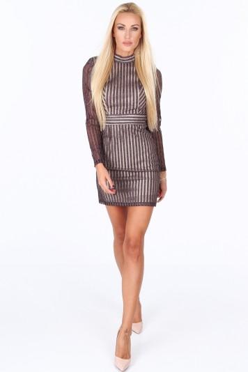 Sukienka z wycięciem na plecach fioletowa G5112