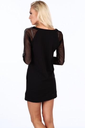 Sukienka sportowa z siatkowymi rękawami czarna 0201