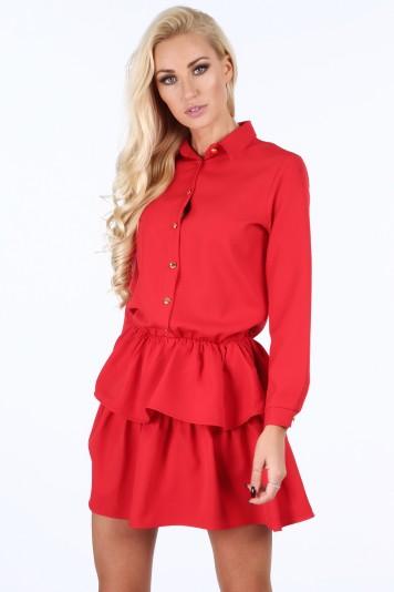 Červené dámské šaty se zlatými knoflíky 294aef3a65