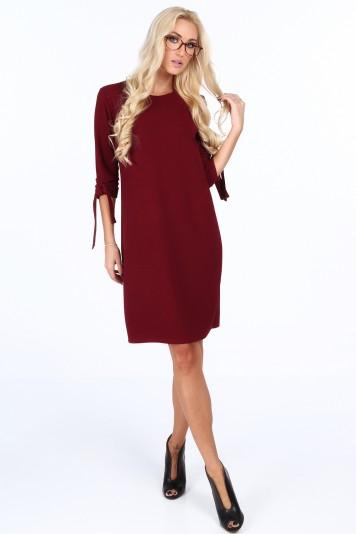 Vínové elegantně dámské šaty s mašlemi na rukávech 7ea6485b26
