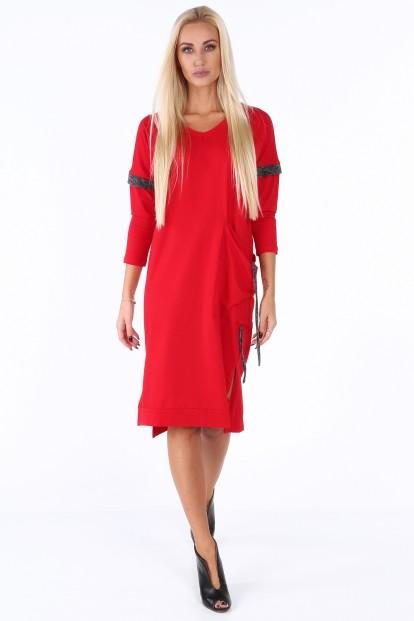 ... Červené volné dámské šaty s V výstřihem. Sukienka midi z dekoltem