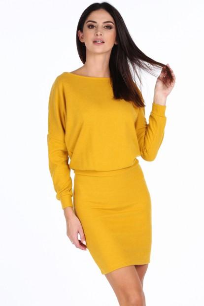 ... Žluté elegantní šaty s výstřihem ve tvaru V na zádech. Sukienka z  dekoltem na plecach musztardowa 19350 1cd589f7d5