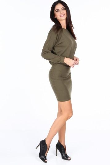 Khaki elegantní šaty s výstřihem ve tvaru V na chrbte ... 8dd072ec89