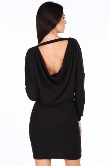 Černé elegantní šaty s výstřihem ve tvaru V na chrbte ... 98b8a04fe3