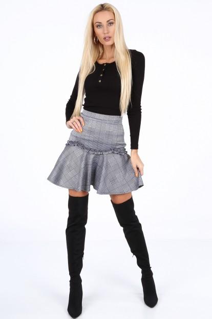 ... Tmavomodrá dámská mini sukně s volánem. Spódniczka mini w kratkę  granatowa 1881 abce87b16a