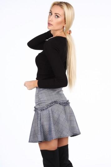 Tmavomodrá dámská mini sukně s volánem-FASARDIofficial.cz Velikost XL 42b6e70d55