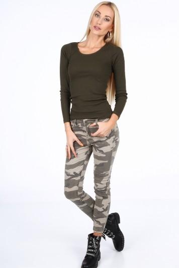Spodnie z ekspresami na nogawkach moro 227