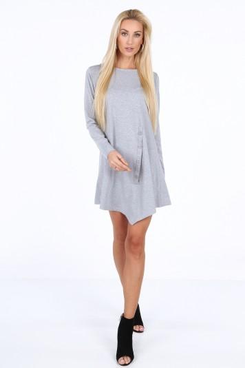 Jasnoszara sukienka na co dzień 4034
