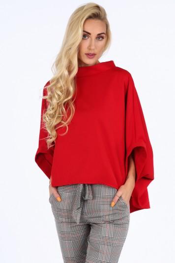 Czerwona bluzka oversize 0204