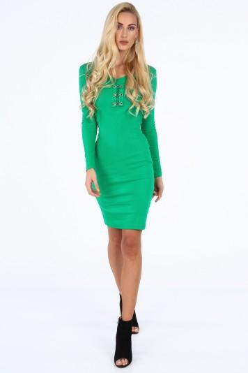 Zielona sukienka dopasowana 19100