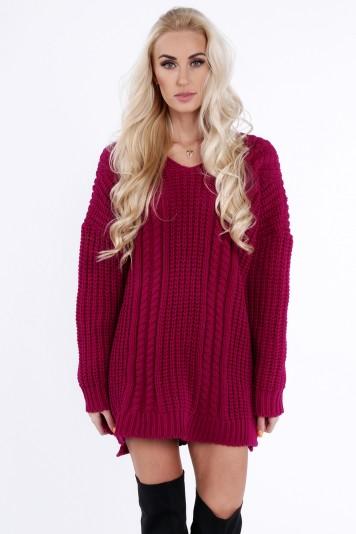 Amarantowy sweter oversize 0211