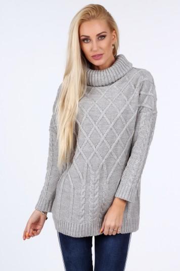 Jasnoszary sweter z golfem 0210