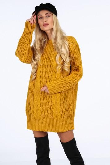 Musztardowy długi sweter oversize 0207