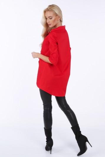 Koszula zapinana na ukos w kolorze czerwonym 0216
