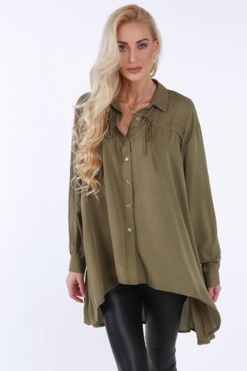 Khaki koszula na co dzień oversize 0221