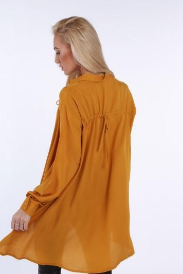 Musztardowa koszula na co dzień oversize 0221