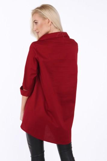 Koszula zapinana na ukos w kolorze bordowym 0216