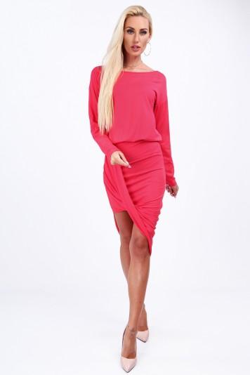 Koralowa sukienka dopasowana 4050