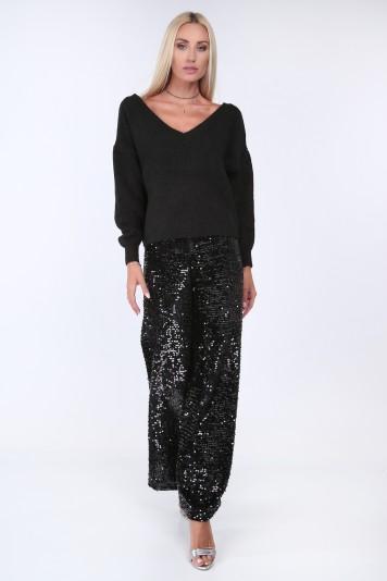 Czarne spodnie z cekinami 0217