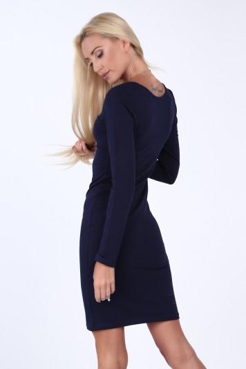 Tmavomodré minimalistické šaty s dlouhými rukávy - FASARDIofficial ... b672407c028