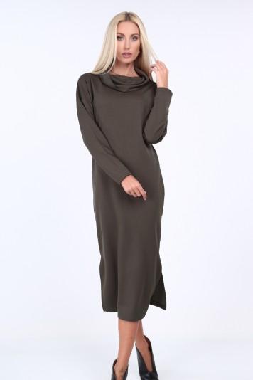 Kaki šaty s širokým límcem