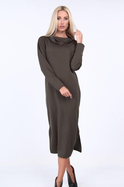 Kaki šaty s širokým límcem - FASARDIofficial.cz Velikost XL ab9c238d471