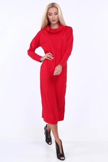 Czerwona sukienka z szerokim golfem na co dzień 1950