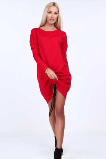 Czerwona sukienka z marszczeniem oversize 4052