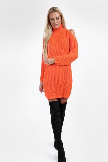 Fluo pomarańczowy sweter z golfem na co dzień 0228