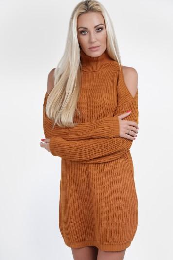 Musztardowy sweter z golfem na co dzień 0228