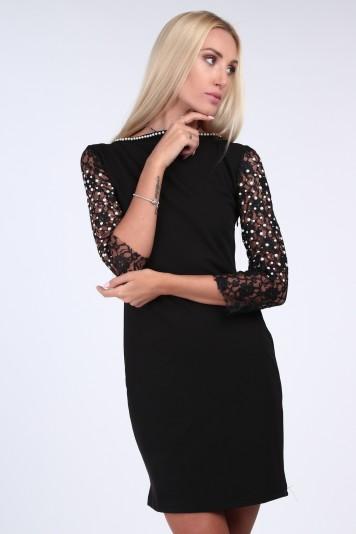 Černé elegantní šaty s krajkou a 3 4 rukávem c76b982d170