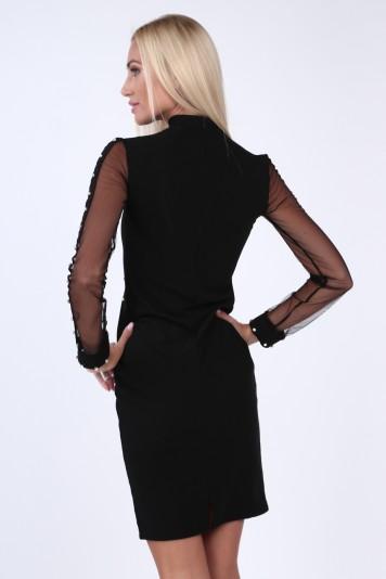 Czarna sukienka z cyrkoniami dopasowana 0232