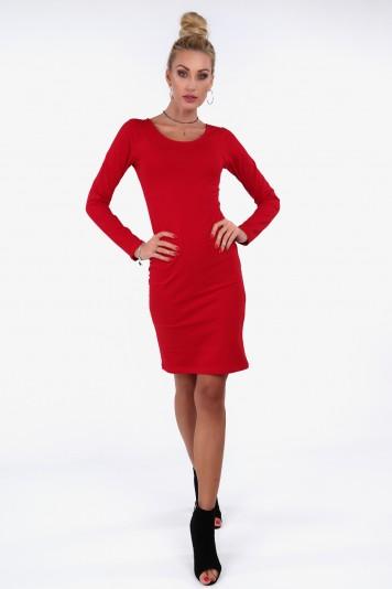 Czerwona minimalistyczna sukienka dopasowana 4054