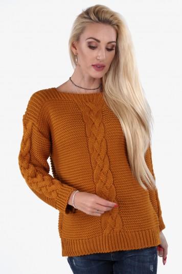 Musztardowy sweter z warkoczem 0235