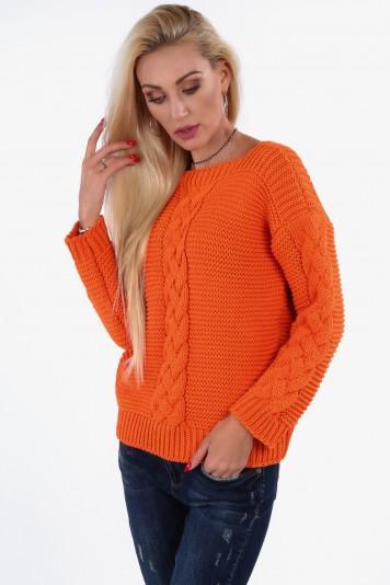 Fluo pomarańczowy sweter z warkoczem 0235