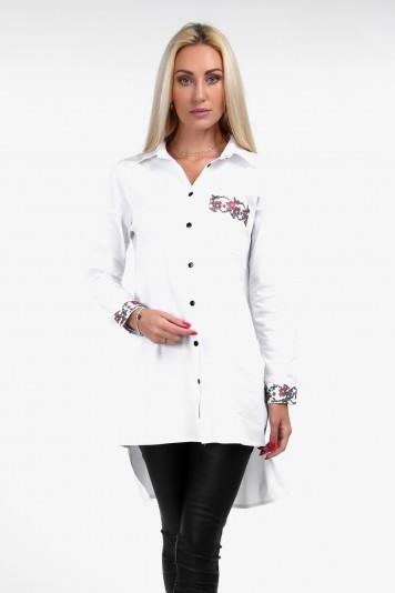 Biała koszula z haftem na co dzień 1978