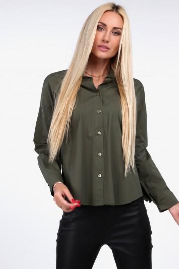 Khaki koszula z plisowaną falbaną 0223