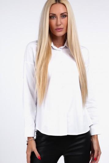 Biała koszula z plisowaną falbaną 0223