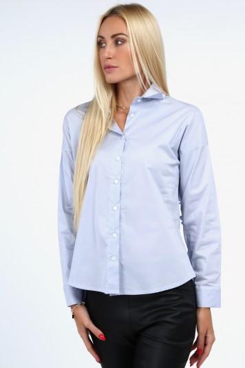 Jasnoniebieska koszula z plisowaną falbaną 0223