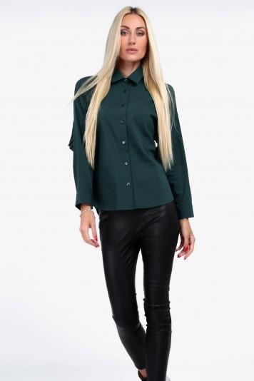 Zielona koszula z plisowaną falbaną 0223
