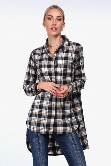 Beżowa koszula w kratkę z dłuższym tyłem 1970